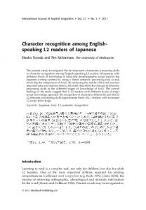 Character recognition among English- speaking L2 readers of Japanese