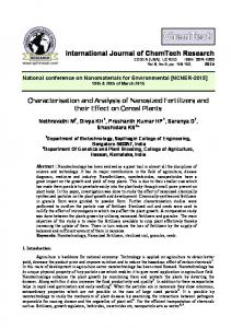 Characterisation and Analysis of Nanosized Fertilizers and their Effect ...