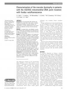 Characterisation of the macular dystrophy in patients with the A3243G ...