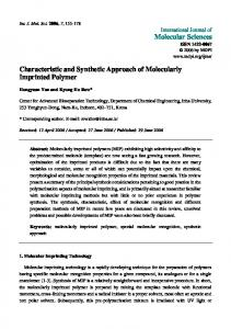 Characteristic and Synthetic Approach of Molecularly Imprinted ...