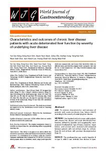 Characteristics and outcomes of chronic liver disease patients with ...
