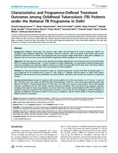 Characteristics and Programme-Defined Treatment Outcomes among ...