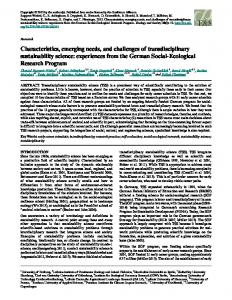 Characteristics, emerging needs, and challenges of transdisciplinary ...