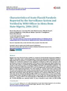 Characteristics of Acute Flaccid Paralysis Reported by the ...