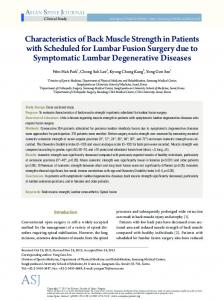 Characteristics of Back Muscle Strength in Patients with Scheduled for ...
