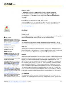Characteristics of clinical trials in rare vs. common diseases - PLOS