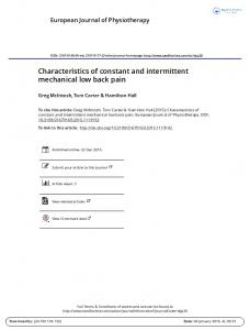 Characteristics of constant and intermittent ... - CBI Health Group