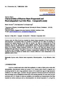 Characteristics of Electron Beam Evaporated and Electrodeposited ...