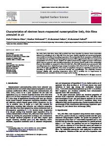Characteristics of electron beam evaporated ... - umexpert