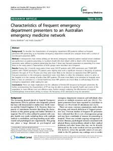 Characteristics of frequent emergency department