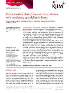 Characteristics of hip involvement in patients with ... - Semantic Scholar