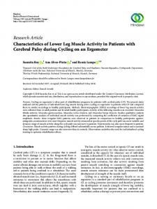 Characteristics of Lower Leg Muscle Activity in Patients with Cerebral ...
