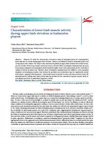 Characteristics of lower limb muscle activity during