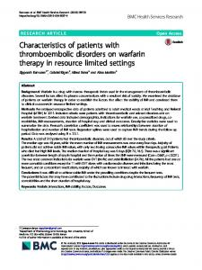 Characteristics of patients with thromboembolic