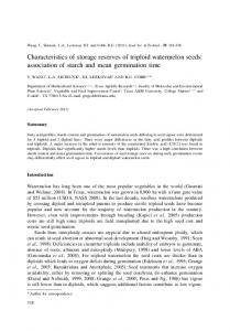 Characteristics of storage reserves of triploid watermelon seeds ...