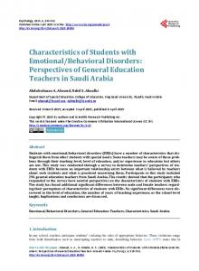 Characteristics of Students with Emotional/Behavioral Disorders ...
