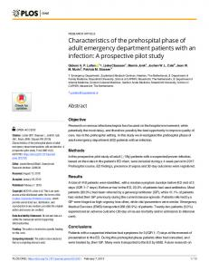 Characteristics of the prehospital phase of adult emergency ... - PLOS