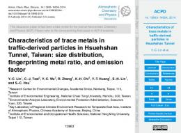 Characteristics of trace metals in traffic-derived particles in Hsuehshan ...