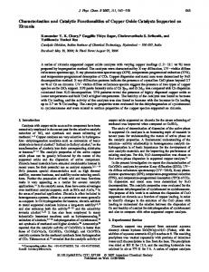 Characterization and Catalytic Functionalities of Copper Oxide ...