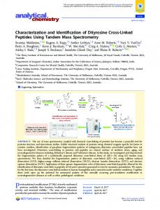 Characterization and Identification of Dityrosine ... - ACS Publications