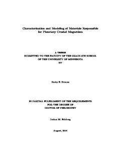 Characterization and Modeling of Materials