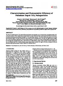 Characterization and Photocatalytic Efficiency of