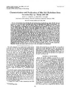 Characterization and purification of bile salt hydrolase from ...