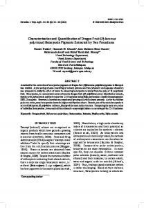 Characterization and Quantification of Dragon Fruit (Hylocereus