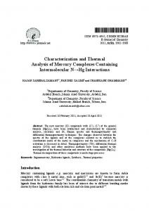 Characterization and Thermal Analysis of Mercury Complexes