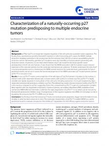 Characterization of a naturally-occurring p27 mutation ... - CiteSeerX