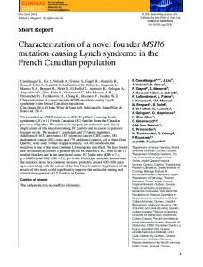 Characterization of a novel founder MSH6 mutation causing Lynch ...