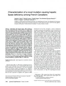 Characterization of a novel mutation causing hepatic lipase deficiency ...