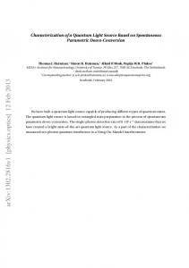 Characterization of a Quantum Light Source Based on Spontaneous ...