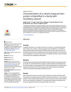 Characterization of a variant of gap junction ... - Semantic Scholar