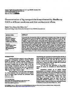 Characterization of Ag nanoparticles biosynthesized by Bacillus sp