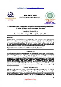 Characterization of alterations in photosynthetic electron transport ...