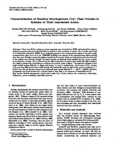 Characterization of Bacillus thuringiensis Cry1 Class ...