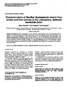 Characterization of Bacillus thuringiensis strains ... - Academic Journals