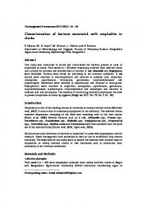 Characterization of bacteria associated with omphalitis in chicks