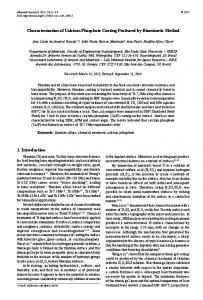 Characterization of Calcium Phosphate Coating Produced by ...