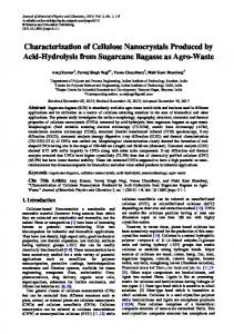 Characterization of Cellulose Nanocrystals Produced by Acid ...