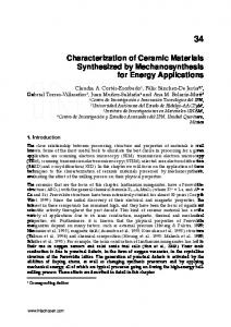 Characterization of Ceramic Materials Synthesized by ...