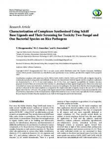 Characterization of Complexes Synthesized Using Schiff Base ...