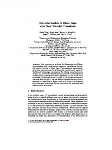 Characterization of Dirac Edge with New Wavelet ... - Robert Haralick