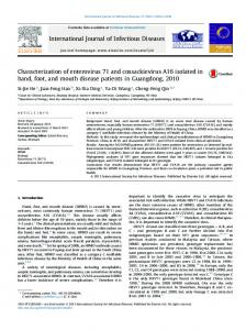 Characterization of enterovirus 71 and coxsackievirus A16 isolated in ...