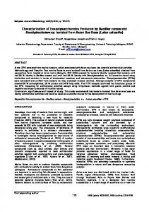 Characterization of Exopolysaccharides Produced by Bacillus cereus ...