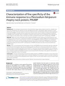 Characterization of fine specificity of the immune ... - Malaria Journal