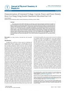 Characterization of Generated Voltage, Current ... - OMICS International