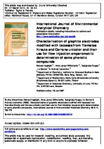 Characterization of graphite electrodes modified with