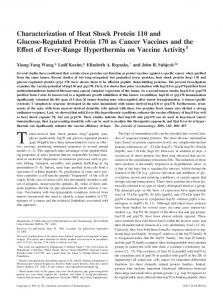 Characterization of Heat Shock Protein 110 and Glucose-Regulated ...